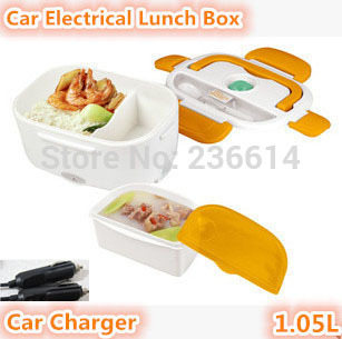 shipping car charger electrical lunch box automobile heating bento food container lunch box for travel(China (Mainland))
