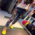 Autumn Stylish Women Jeans Girls Pants With Holes Loose Ripped Cartoon Mouse Embroidery Jeans A 21