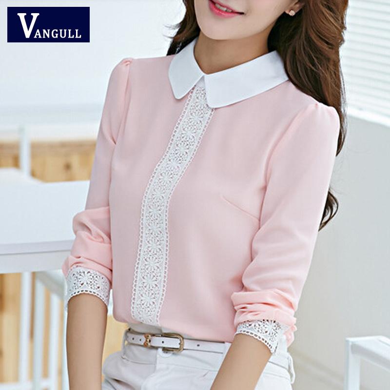 Women chiffon blouse New 2016 Summer Peter pan collar Woman long sleeve Lace Crochet tops blouses white pink shirts(China (Mainland))