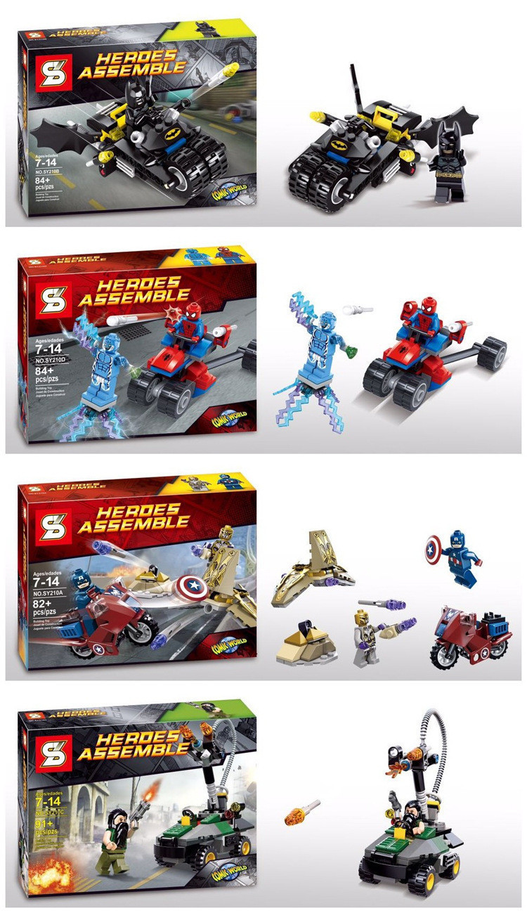 Free Shipping 4pcs/set Hot! NEW Small particles building blocks assembled superhero doll accessories Lego Compatible(China (Mainland))