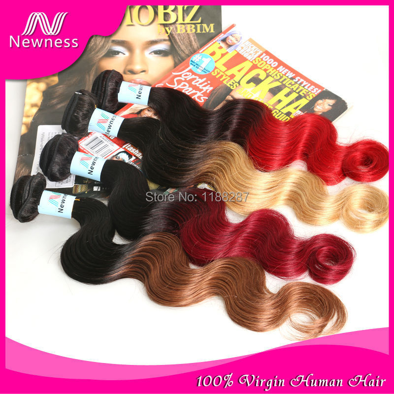 Newness Ombre Hair Extensions Brazilian Body Wave Two Tone Color 100% Human Hair Weaves T1B/27 Brown Burgundy Red Free Shipping(China (Mainland))