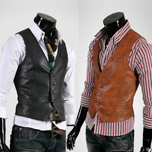 Hot Sale men's leather vest Men's slim vest   leather business casual vest M-XL black,brown(China (Mainland))