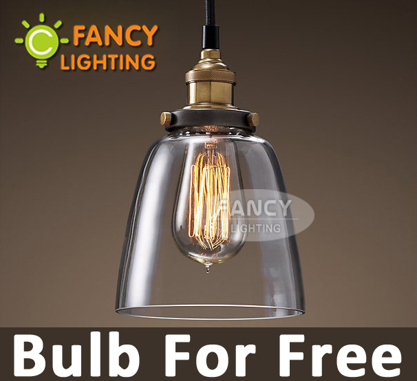 Fancy Lighting free shipping vintage indoor copper lampholder white bell clear glass ceiling pendant lamp light E27 for Parlor<br><br>Aliexpress