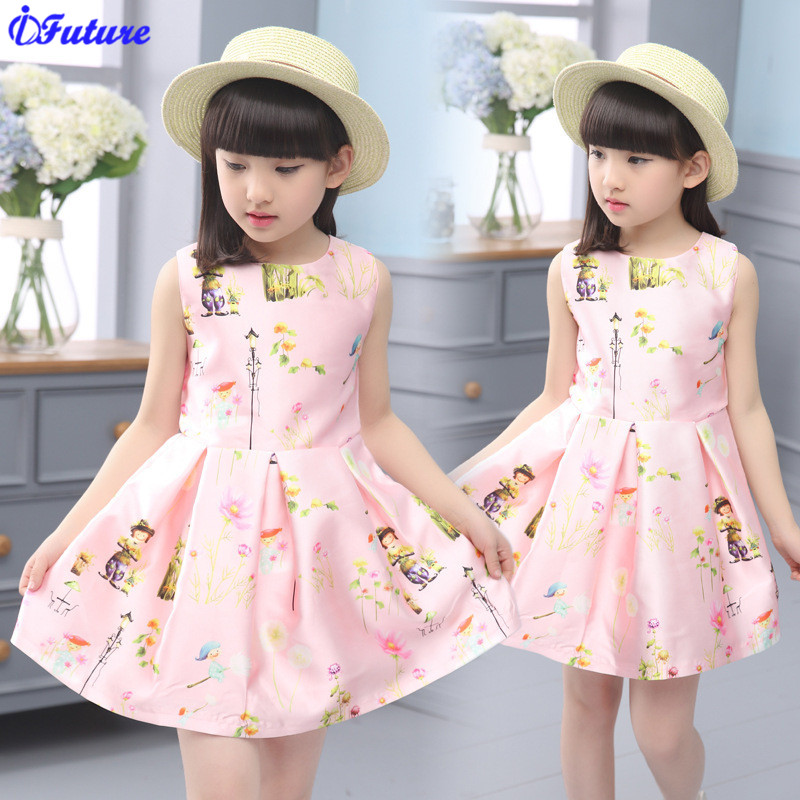 Baby Girls Dress 2016 Brand Designer Kids Dresses for Girls Clothes Character Pattern Print Dress Children Clothing Robe Fille(China (Mainland))