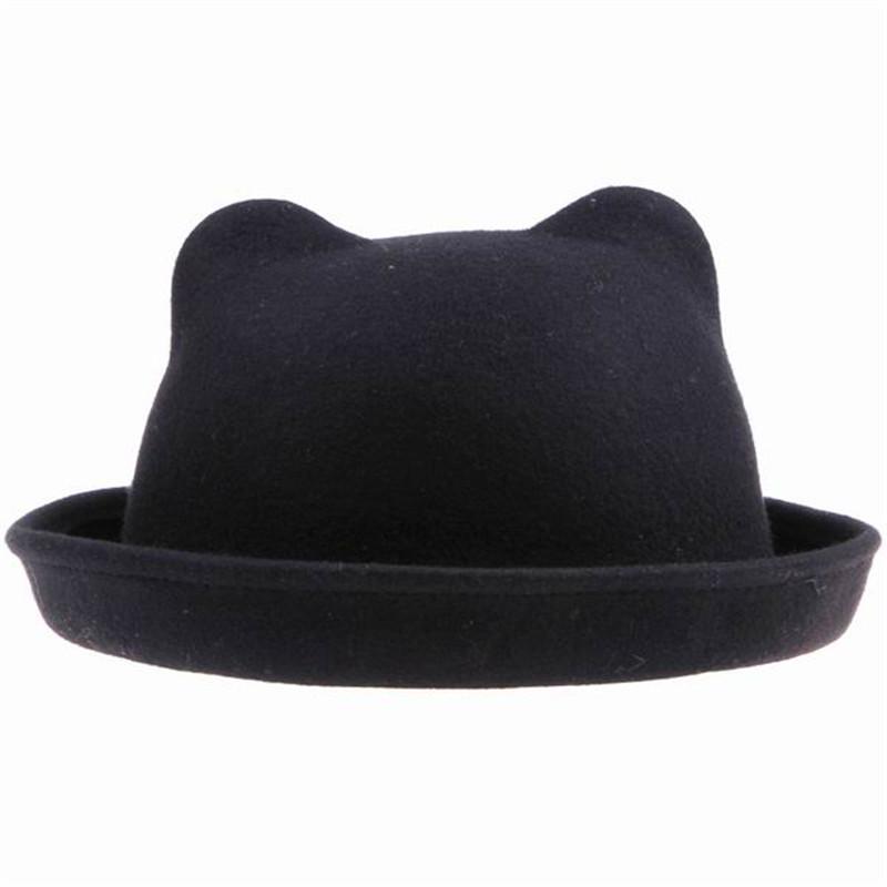2015 Autumn Winter Warm Fedoras Hats for Women Cat Ear Roll Brim Fedora Female Black Wool Caps Free Shipping(China (Mainland))