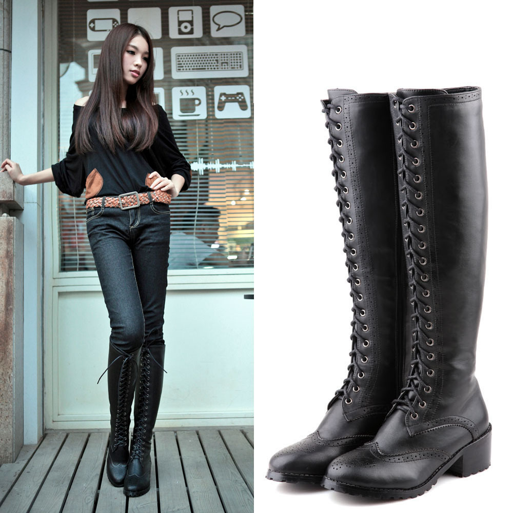 new 2014 fashion style lace up flat knee high