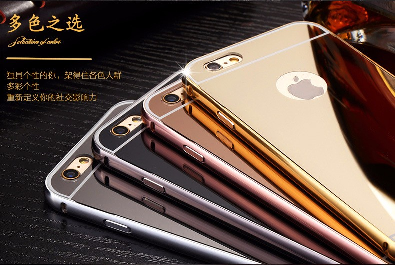 Ultra Slim 2in1 For iPhone 7 6S Phone Case Luxury Metal Aluminum Frame+Acrylic Mirror Phone Case for iphone 7plus Back Cover