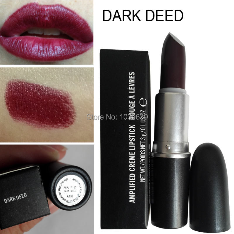 1PCS Hot sale AMPLIFIED CREME LIPSTICK Dark Deed Lipstick Brand Makeup Deep red Lipstick Cosmetics(China (Mainland))