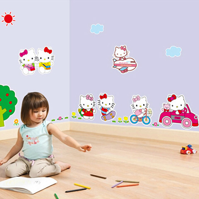 1pcs Cartoon Hello Kitty Vinyl Art Sticker Wall Decals Baby Bedroom Hall Living Room TV Background Poster Mural Home Accessories(China (Mainland))
