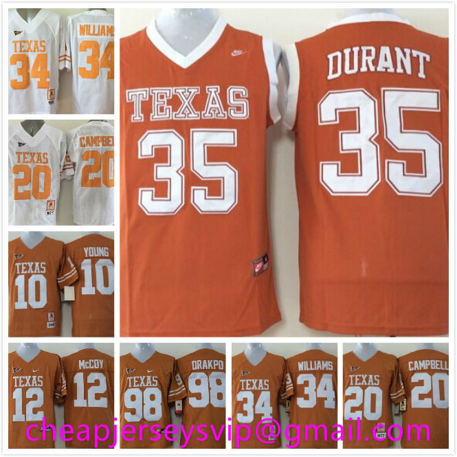 Cheap Men's Texas Longhorns Kevin Durant Vince Young Colt McCoy ricky williams Earl Campbell Brian Orakpo Embroidery Logo(China (Mainland))
