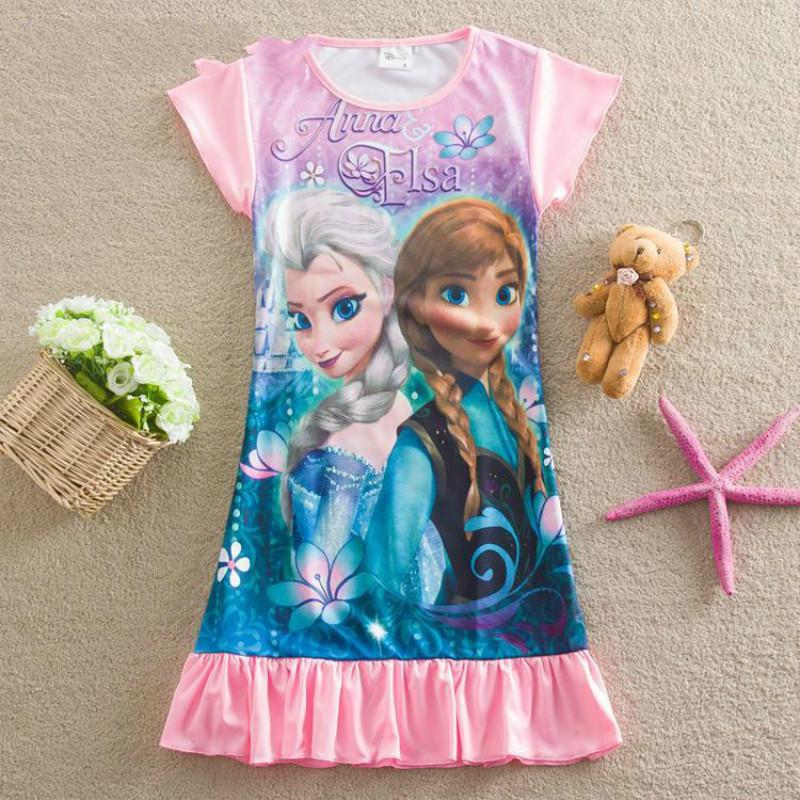 Baby Girls Pajamas Anna Elsa Children's Sleepwear Night Wear Girls Princess Nightgown Dress Girls Nightdress(China (Mainland))