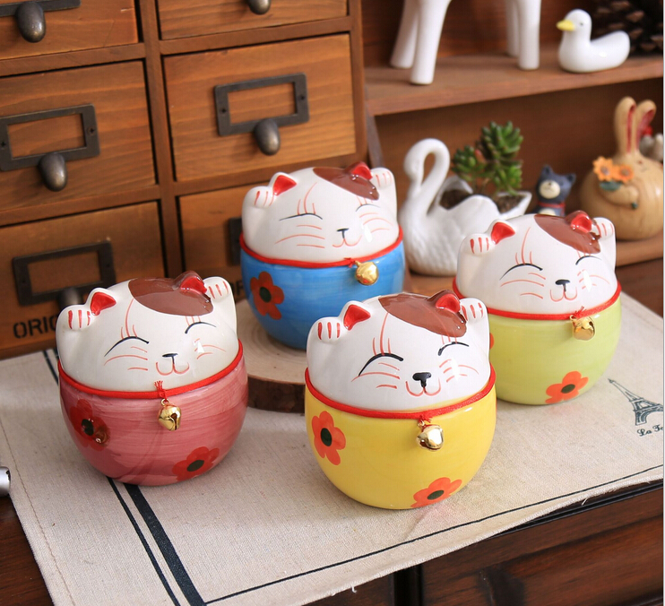 Free Shipping!Lovely Ceramic Cat Design Coin saver Mix Color Lucky cat Money Box Cartoon Coin Storage House Decor(China (Mainland))