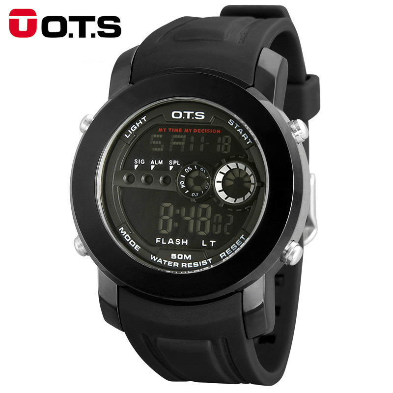 Brand OTS Men Fashion Watch Outdoor Waterproof Sport Rubber Strap Mens LED Digital Watches Relogio Masculino Boys Gift(China (Mainland))