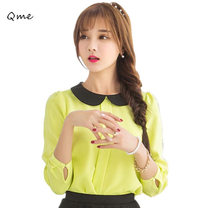 Chiffon blouses womens tops peter pan collar blouse long sleeve blusas