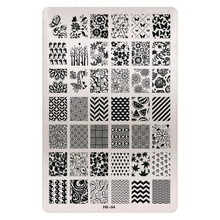 1 Sheet 2016 New Styles 9.5 x 14.5cm HK Series Stainless Steel Stamping Nail Art Image Plate Polish Manicure Stencil Tool HK-04
