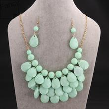 Sets Newest Beads Trendy Earrings and Necklace Sets For Women Jewelry Suitable In Autumn & Winter Wear  pwoe LFSS001-D(China (Mainland))