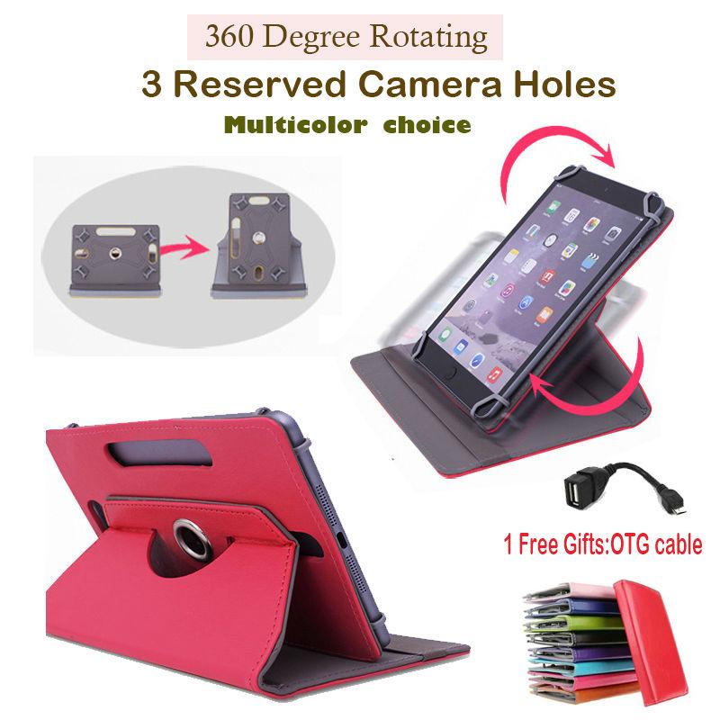 "For Cube Talk97(U59GT-C4)/U9GT2/Talk 9x/U9GT5/U9GTV/U19GT 9.7"" 360DegreeRotatingUniversal Tablet PU Leather cover case Free OTG(China (Mainland))"