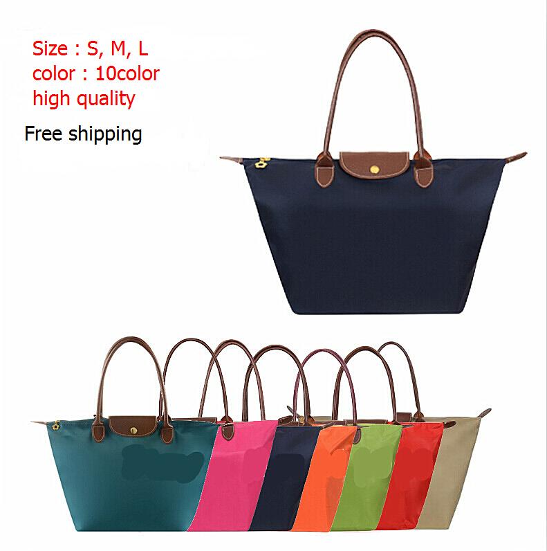 Wholesale Fashion Women Bag Leather Handbags Ladies Designer Brand Bags Nylon Folding Dumpling Tote Shoulder Bags Female 13 Colo(China (Mainland))
