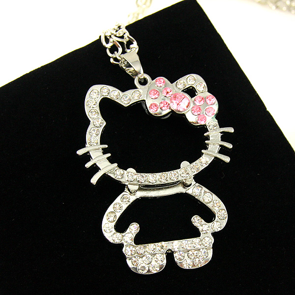 Long silver women long pendant necklaces & pendants silver hello kitty jewelry necklace women necklace new arrival 2016 nke-k54(China (Mainland))