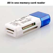 Wholesale 20pcs/lot USB 2.0 All in one memory card reader,TF/ MS/M2/SD/ card reader,TF card reader,SDHC card reader