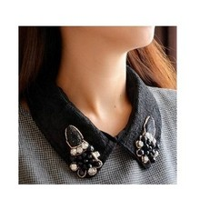 Europe exaggerated costly pearls Summer color crystal butterfly silk organza wholesale shirt collar necklace Black delicate(China (Mainland))