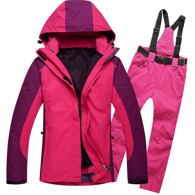 Женщины Лыжный Костюм Снег Зима Ветрозащитный Туризм Отдых Куртка С Капюшоном Брюки Спорт Костюм Набор