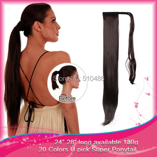 "Best Quality Long Straight Ponytail Hair Extension 24"" 130g Synthetic Wrap Around Ponytails Clip In Pony Tail Free Shipping P001(China (Mainland))"