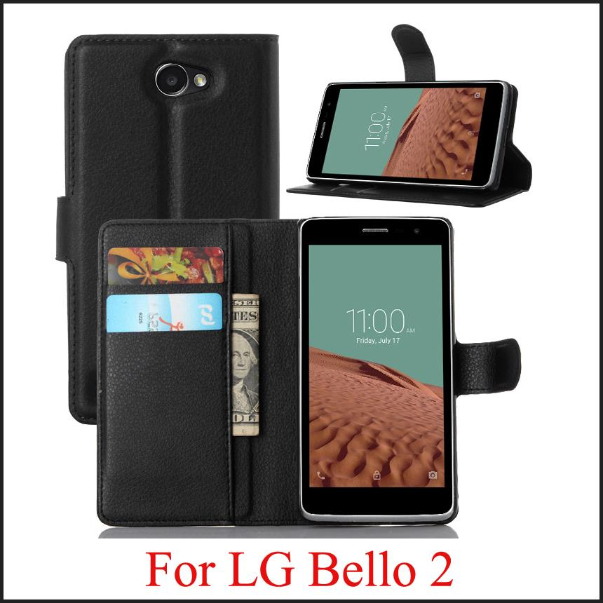 For LG Bello 2 Case Luxury Flip Leather Stand Case For LG Bello 2 Cover Hight Quality Cell Phone Cover For LG Bello 2(China (Mainland))