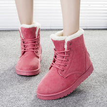 2016 Women Boots Warm Winter Snow Boots Fashion Platform Ankle Boots For Women Shoes Black Botas Femininas(China (Mainland))