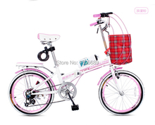 "Outdoor sporting bicycle folding bike speed change mini bike pink women on sales 55"" length"
