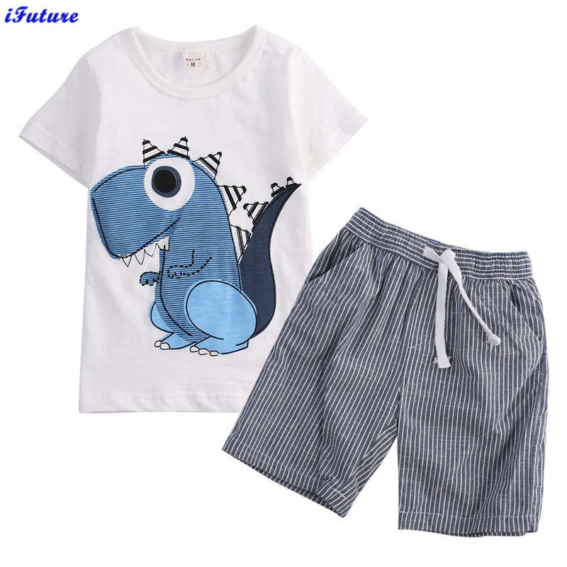 New Baby Toddler kids clothing set baby boy cotton Dinosaur t shirt short +Striped pants children set for summer boy clothes(China (Mainland))