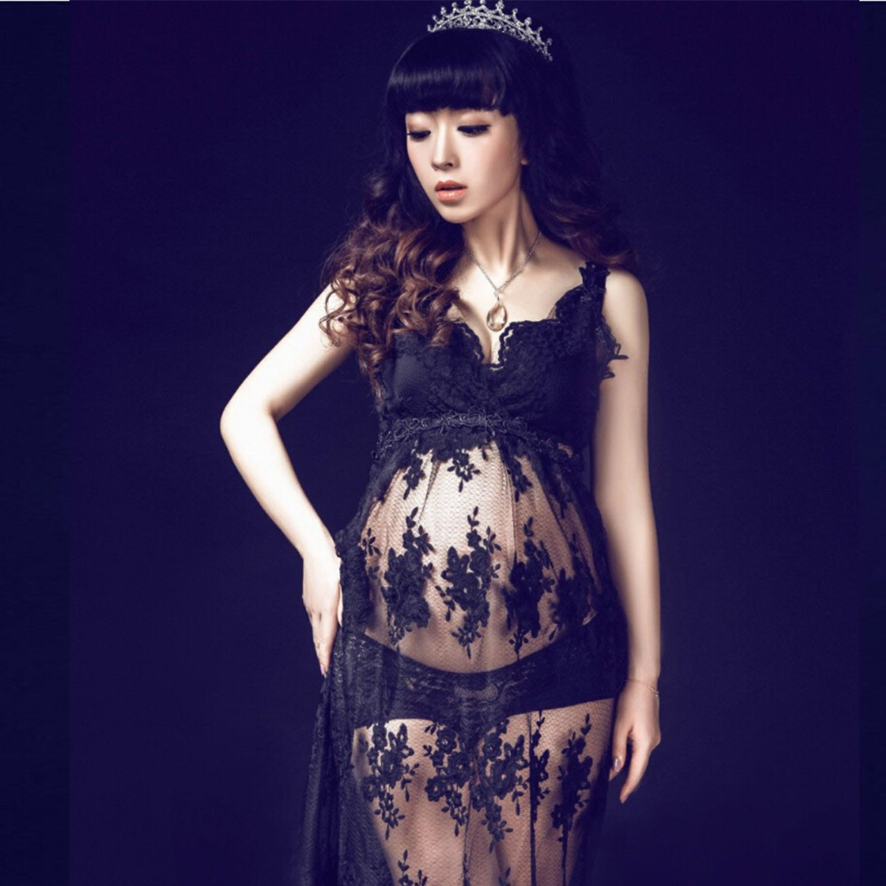 Royal Style Black Maternity Lace Dress Pregnant Photography Props Fancy Pregnancy maternity photo shoot long dress Nightdress
