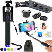 2-in-1 Selfie Kit Bluetooth Wireless/Wired Selfie Stick Monopod+3 in1 Fisheye&Marco&Wide-Angle Lens For Google Nexus 5/6/For LG