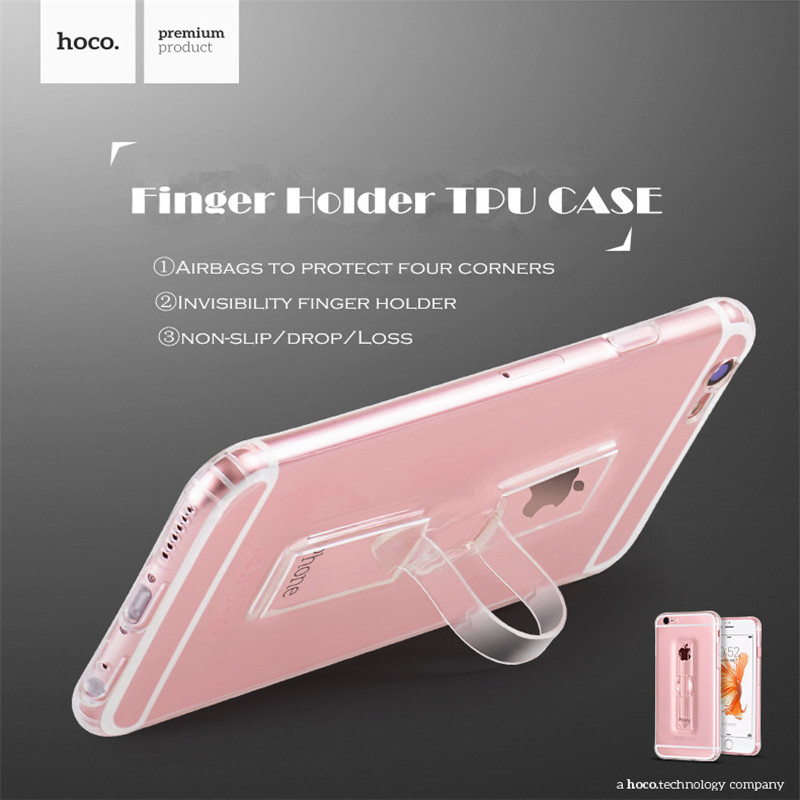HOCO Transparent TPU Case Finger Holder for iPhone 6 6S 6Plus 6SPlus Hidden Holder and Corner of Airbag and Come with Dust Plug(China (Mainland))