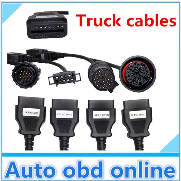 Full set truck cars cables obd2 diagnostic OBD OBDII OBD2 2 connecter CDP Pro - Auto obd online-josan wang store