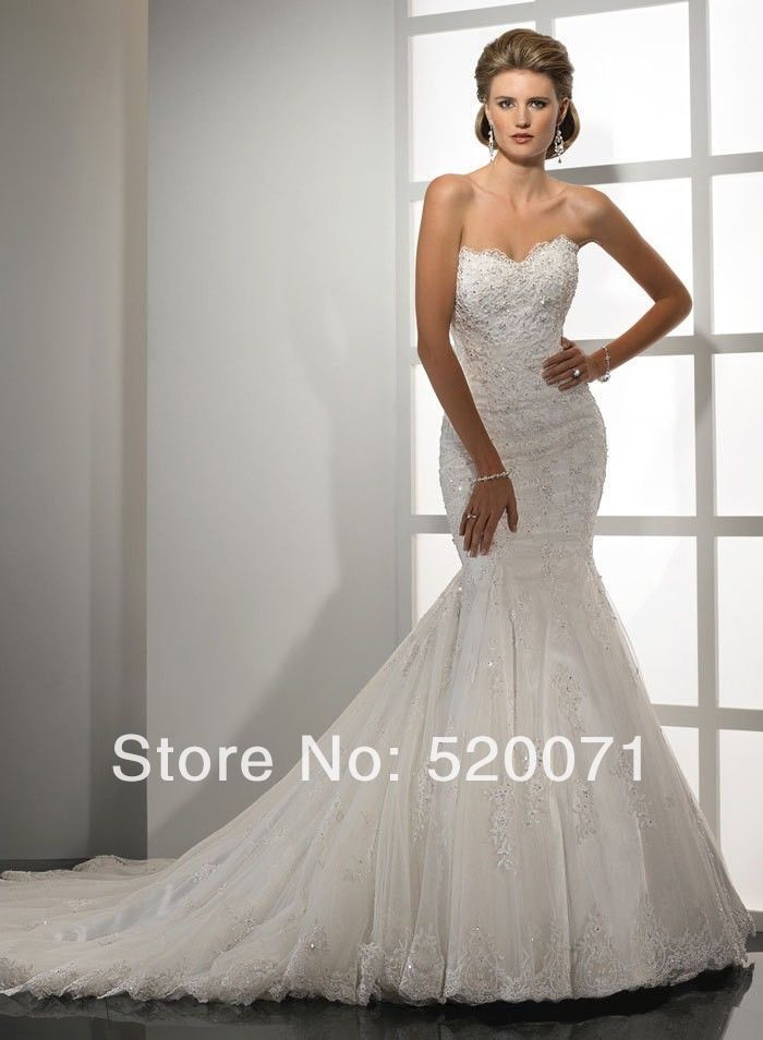 Luxury Mermaid Strapless Sleeveless Court Train Applique White Ivory Lace Wedding Dresses Dreaming Designer Bridal Gowns(China (Mainland))