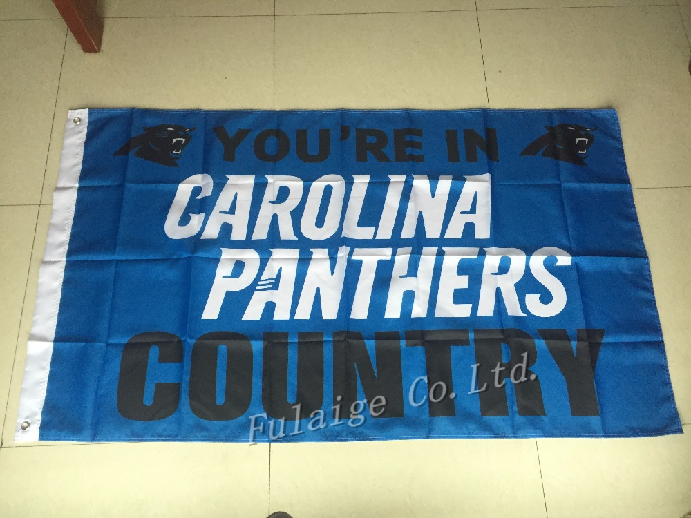 You're In Carolina Panthers country Flag 3ft x 5ft Polyester NFL Carolina Panthers Banner Flying Size No.4 144* 96cm Custom flag(China (Mainland))