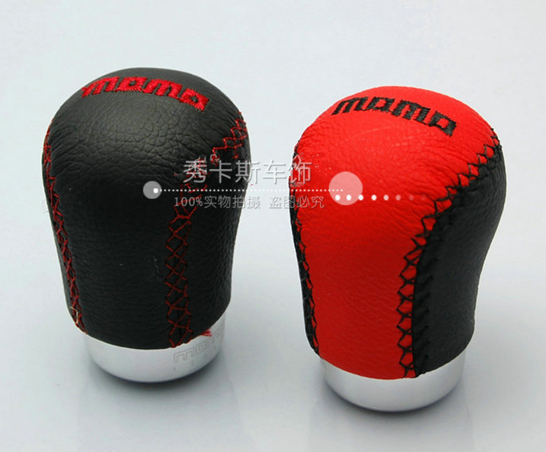 Free Shipping 2014 Hot MOMO car gear shift knob / leather shift head / gear stick head two color optional good quality(China (Mainland))