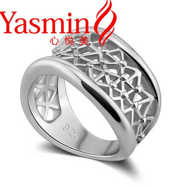 925 sterling silver mesh ring exaggerated wavy silver rings women popular rings(China (Mainland))