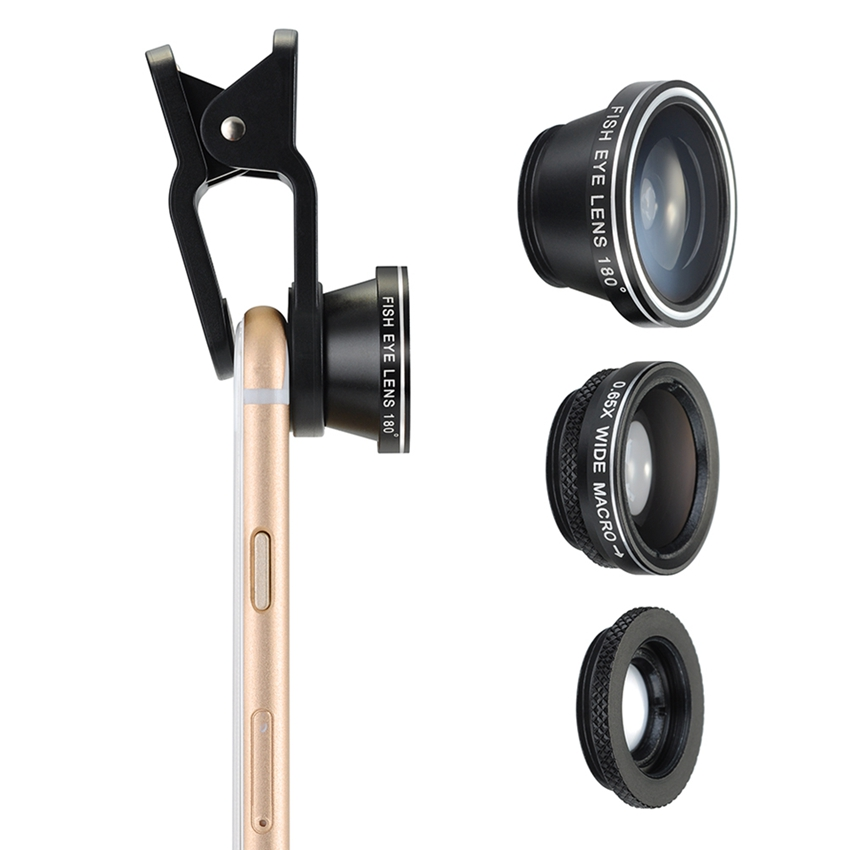 3 in 1 Clip-On 180 Degree Supreme Fisheye + 0.65X Wide Angle+ 10X Macro Lens For Mobile Phone Digital Camera Note Book PC ipad(China (Mainland))