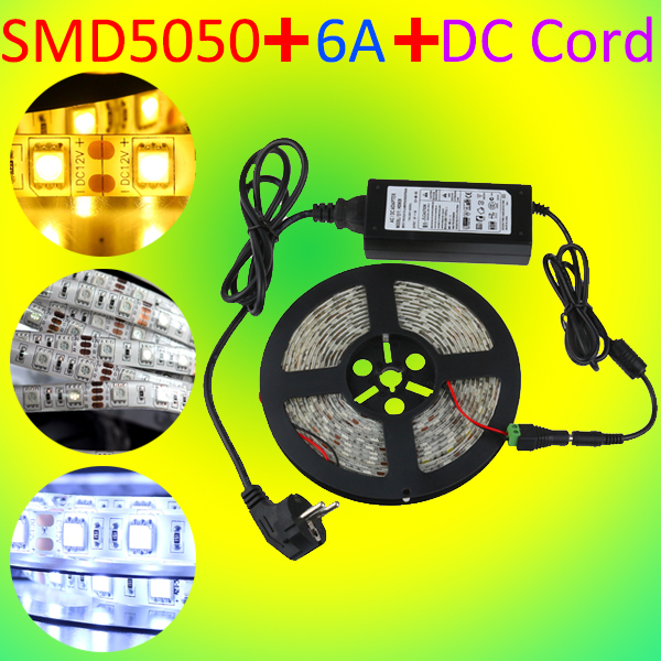5M LED Strip Light 5050 Flexible Cuttable Non Waterproof Warm Cool White + Power Adapter + DC Cord Home Room Foyer Kitchen Decor(China (Mainland))