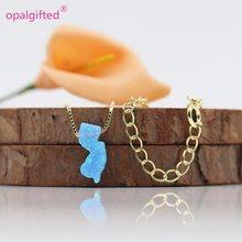 1 pc/lot livraison gratuite beau 5.6*13mm opale synthétique NJ collier nouveau jersey carte collier 925 argent or chaîne bleu clair NJ(China)