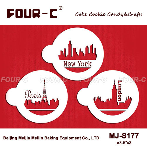 New arrival MJ-S177 Paris, London and New York Skylines lace,circle cake stencils,fondant decorating supplies, free shipping(China (Mainland))