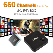MXV Arabic IPTV Box 650+ Europe Arabic IPTV Channel QHDTV Channels Media Player DDR3 1G/8G WiFi KODI Bluetooth Amlogic S805