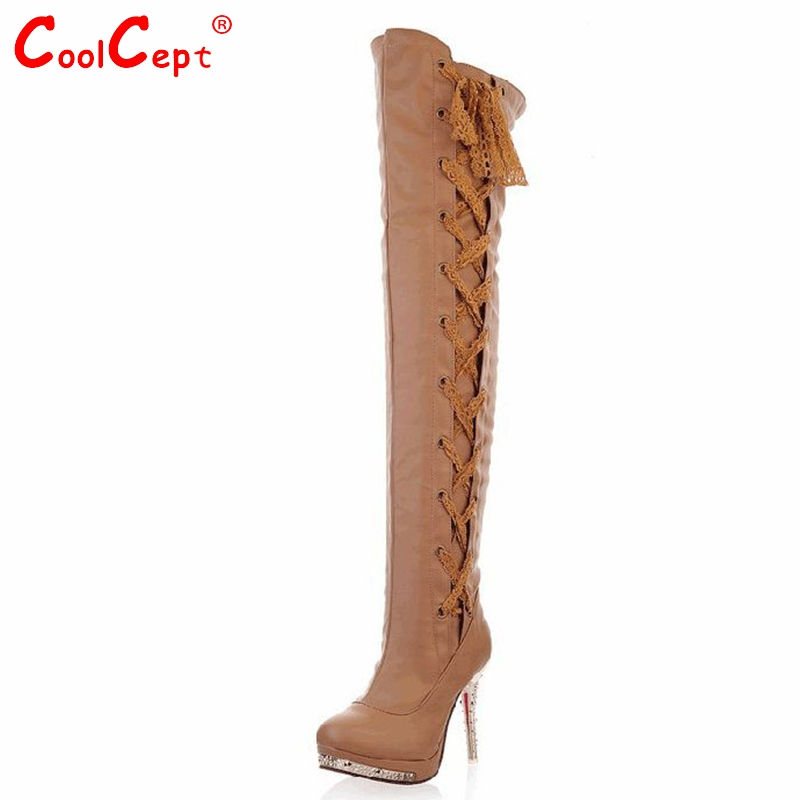 CooLcept knee high heel boots women snow fashion winter warm footwear shoes boot P14642 EUR size 34-43 - CoolCept store