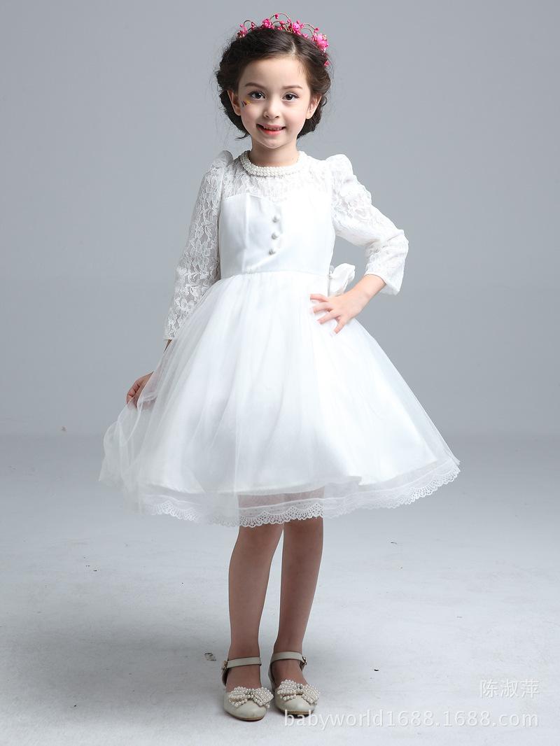 2016 New 2-10T Girl Three Quarter Lace Mesh Wedding Bridesmaid Ball Gown Flower Princess Dress Confirmation Graduation Dresses(China (Mainland))