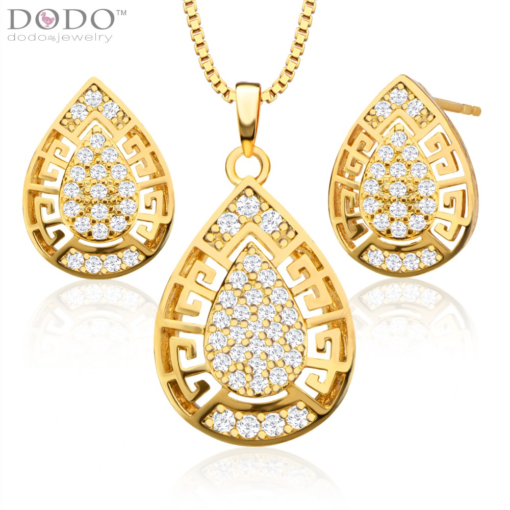 Trendy Hollow out zircon Pendant Necklace Earrings Set 18K Gold Plated womans Jewelry Sets birthday Gift S20089(China (Mainland))