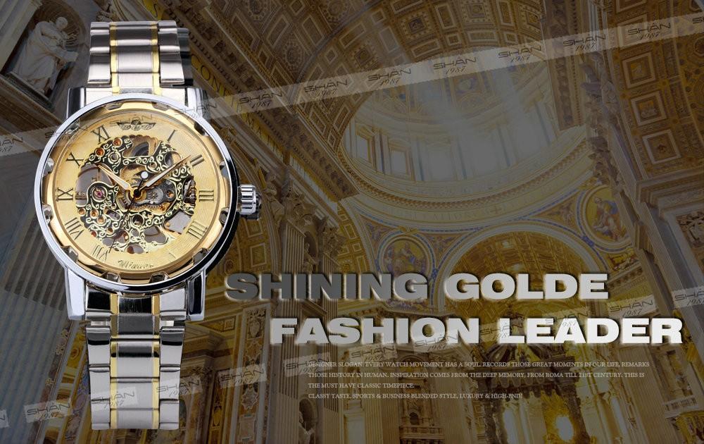 Golden Men Skeleton Mechanical Watch Stainless Steel