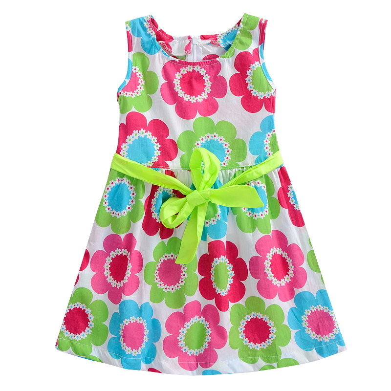 4-10 Years New Summer girl dresses Baby Clothing dress Big girls Beach Clothes big sun flower cotton bow colorful bow 7 8 9(China (Mainland))