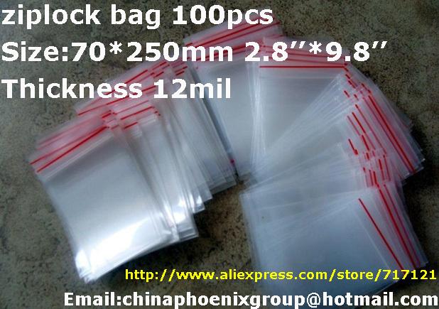 "LOW BULK PRICE 100pcs dress packing bag Clear Bags ziplock bag 2.8""x9.8"" _70 x250mm thickness 0.12mm free Shipping(China (Mainland))"